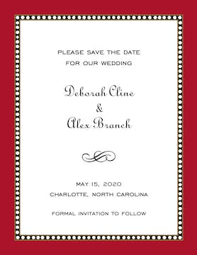 Beaded Border Red Invitation