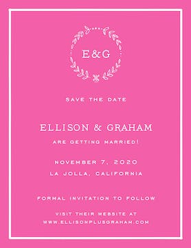 Classic Border White On Hot Pink Invitation