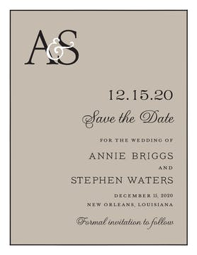 Classic Edge White & Black On Taupe Invitation