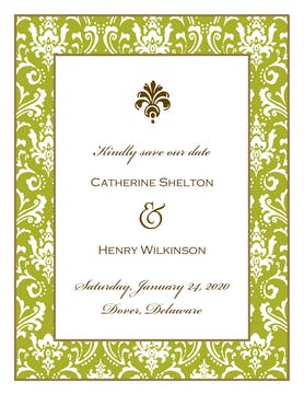 Damask Olive Invitation