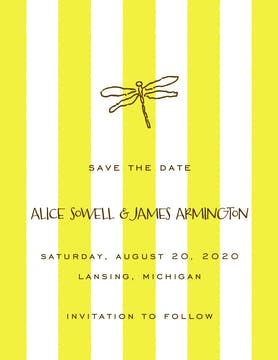 Classic Stripes Citrine Invitation