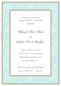 Damask Gold & Aqua On Aqua Invitation