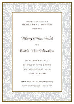Damask Gold & Silver Invitation