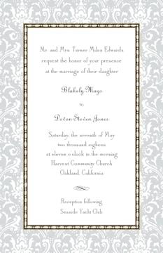 Damask Silver Invitation