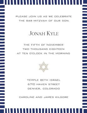 Striped Edge Navy Invitation