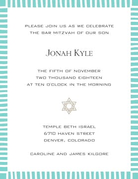 Striped Edge Dark Aqua Invitation