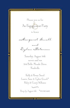 Vintage Frame Navy Invitation