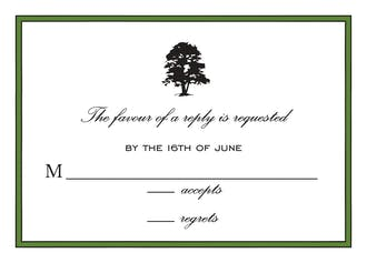 Simple Border Dark Green Reply Card