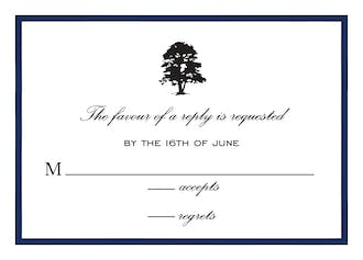 Simple Border Navy Reply Card