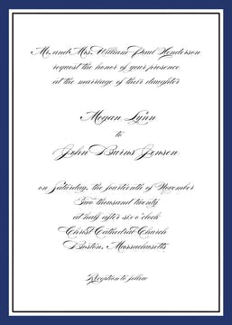 Timeless Border Navy & Black Invitation