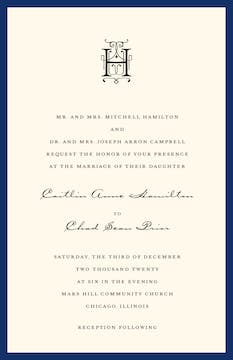 Classic Edge Navy Invitation