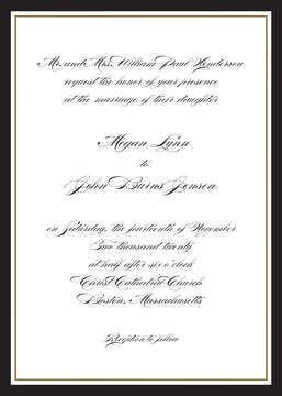 Timeless Border Black & Gold Invitation