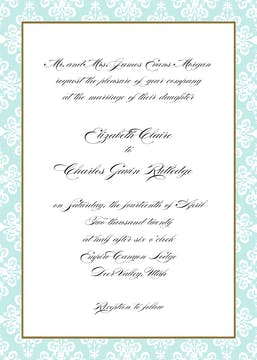 Lace Damask Edge Aqua Invitation