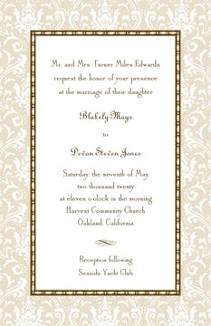 Damask Latte & Chocolate Invitation
