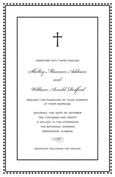 Antique Bead Border Black & White Invitation