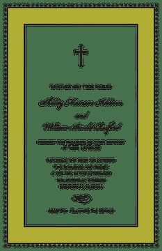 Antique Bead Border Black & Olive Invitation