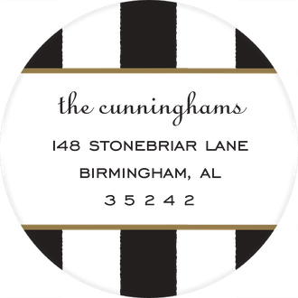 Classic Stripes Black Round Return Address Sticker