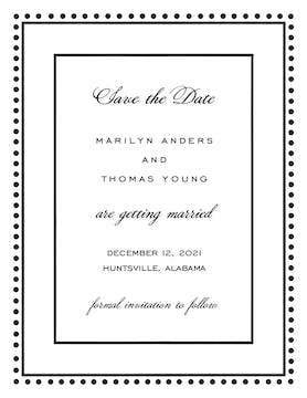 Antique Bead Border Black Invitation