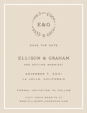 Classic Border White On Latte Invitation