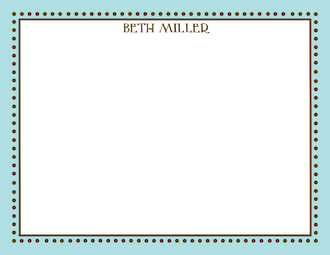 Antique Bead Border Aqua & Chocolate Flat Note