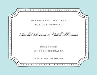 Antique Frame Aqua Invitation