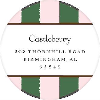 Classic Stripes Pink Round Return Address Sticker