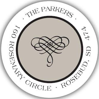 Simple Taupe & Black Round Return Address Sticker