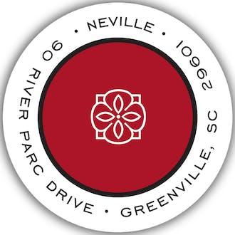 Simple Red & Black Round Return Address Sticker