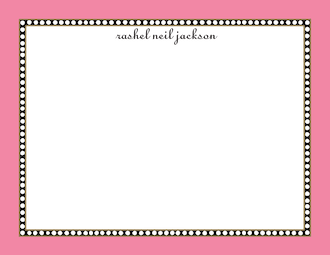 Beaded Border Deep Pink Flat Note