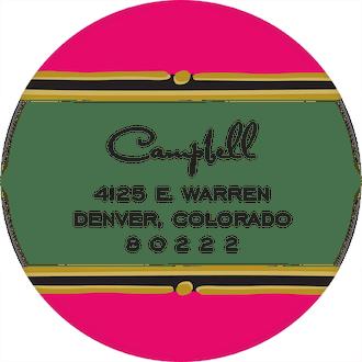 Vintage Hot Pink Round Return Address Sticker