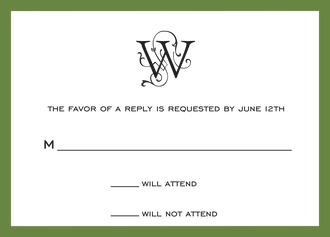 Classic Border Dark Green Reply Card