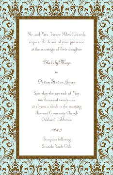 Damask Aqua & Chocolate Invitation