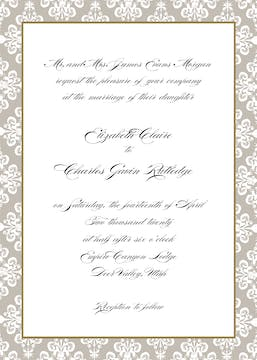 Lace Damask Edge Taupe Invitation