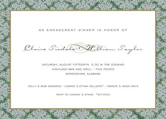 Lace Damask Edge Silver Invitation