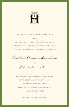 Classic Edge Green Invitation