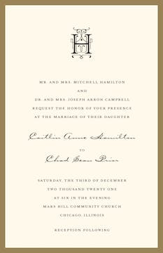 Classic Edge Gold Invitation