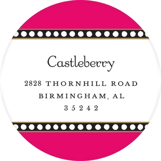 Dotted Border Hot Pink Round Return Address Sticker