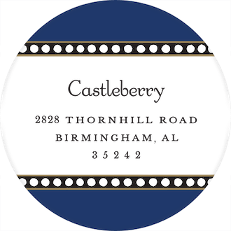 Dotted Border Navy Round Return Address Sticker