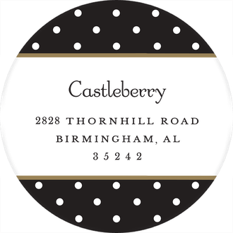 Dots Black & White Round Return Address Sticker