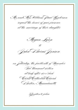 Timeless Border Aqua & Gold Invitation