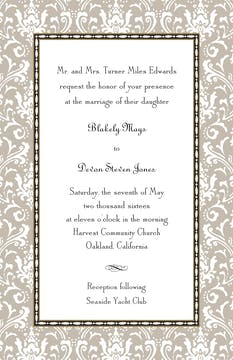 Damask Taupe Invitation