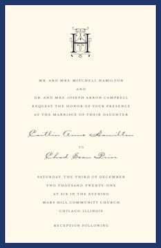 Classic Edge Navy Invitation