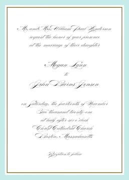 Timeless Border Aqua & Gold Invitation