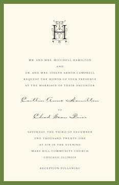 Classic Edge Green Invitation