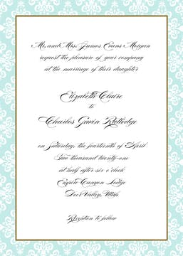 Lace Damask Edge Aqua Invitation