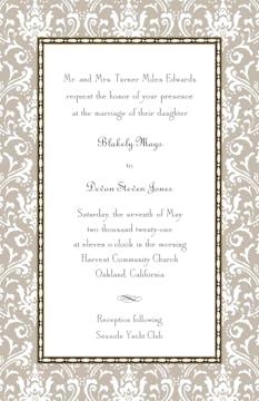 Damask Taupe Invitation