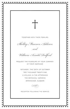 Antique Bead Border Black & White Invitation