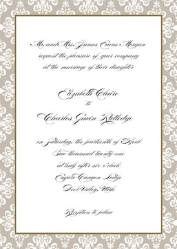 Lace Damask Edge Taupe Invitation