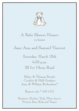 Classic Edge White & Chocolate On Blue Invitation