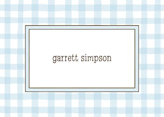 Gingham Blue Flat Enclosure Card
